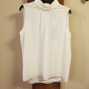 Tops - White Blouse with Pearl Details NWT